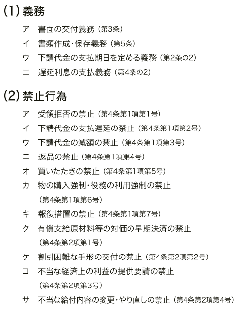 下請法 4つの義務と11の禁止事項